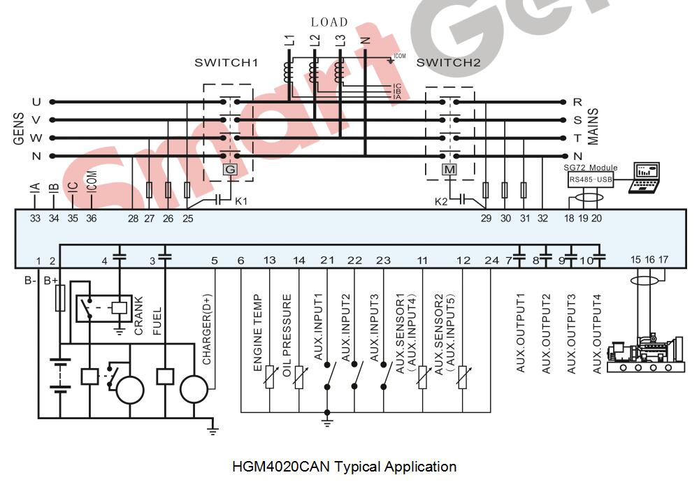 Smartgen Hgm4020can Generator Controller  8 Languages